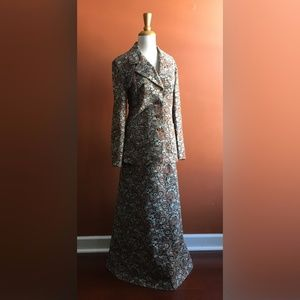 WHITE STAG  Tapestry Long Skirt Suit Brown L